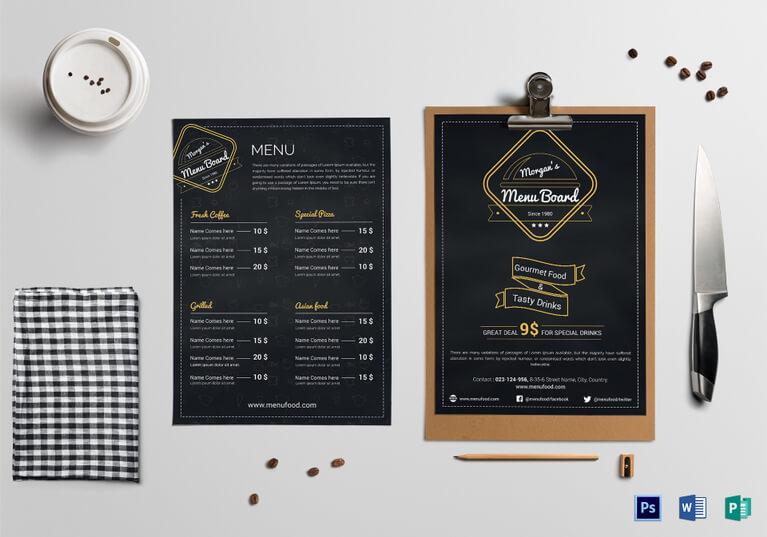 Simple Restaurant Menu Board Template