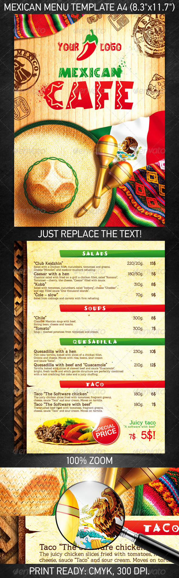 13 best selling menu templates for restaurants premiumcoding mexican menu template is suitable for any ethnic cafe business or related to restaurant business menu has been created using tables and cells for easy flashek Choice Image