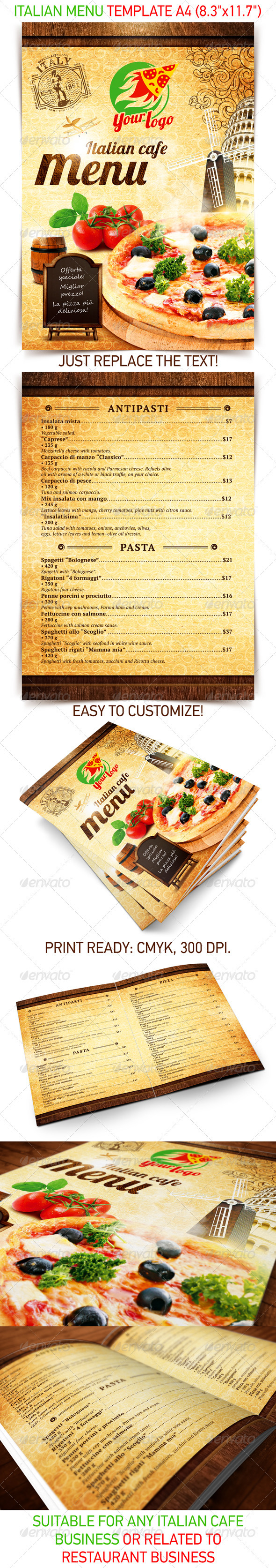13 best selling menu templates for restaurants premiumcoding italian menu template pronofoot35fo Gallery
