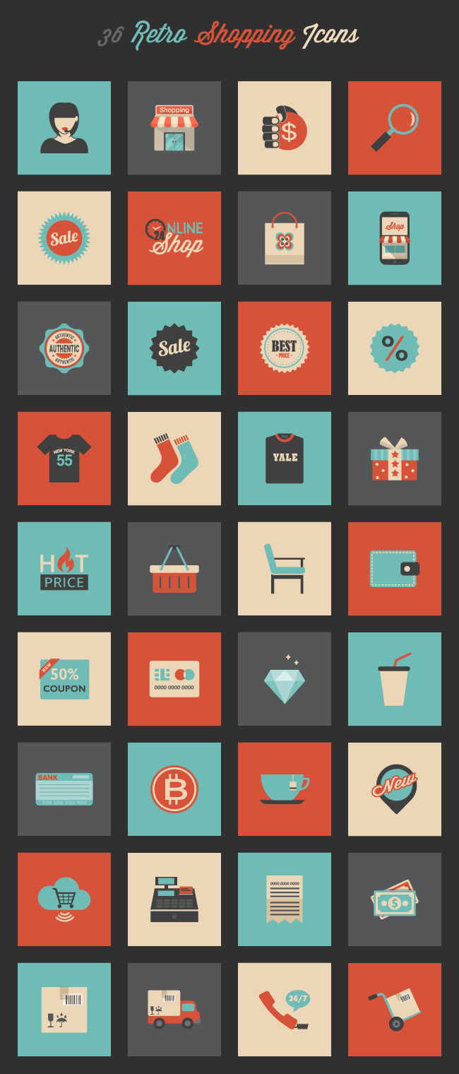 Set of 36 Retro Shopping Icons