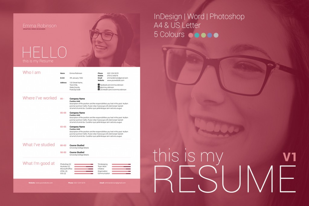 simple yet high impact single page resumecv and cover letter with optional photo header the template comes in 5 different colours to help get you - Help With My Resume