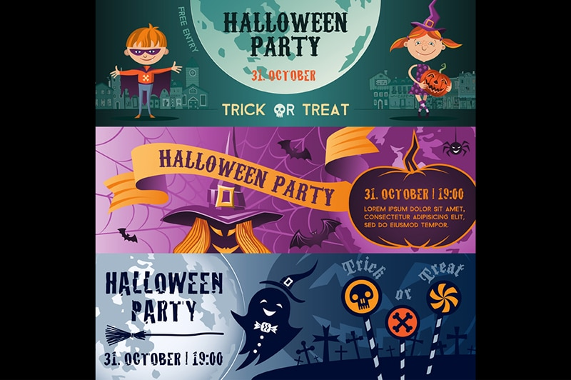 Vector concept Halloween party flat banner set. Halloween party flayer, poster. Children, witch, brooms, ghost and pumpkin.