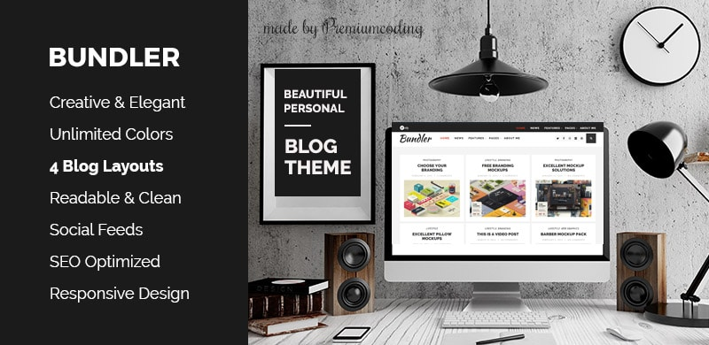 Free WordPress Theme: Bundler – Minimal Blog Theme