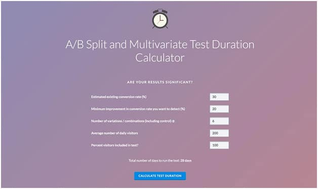 AB Split and Multivariate Test Duration Calculator