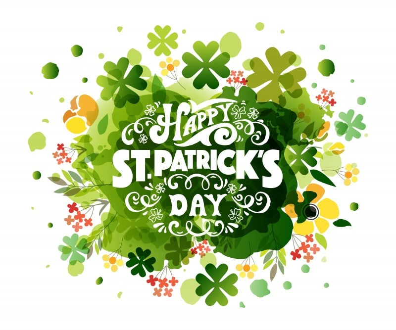 'Happy Saint Patrick's Day' on textured background. Hand drawn St. Patrick's Day lettering typography for postcard, card, flyer, banner template. Typographic design for St. Patrick Day. Vector EPS10