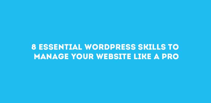 8 Essential WordPress Skills To Manage Website Like A Pro