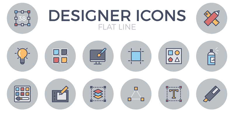 Exclusive Free Designer Flat Line Icon Set
