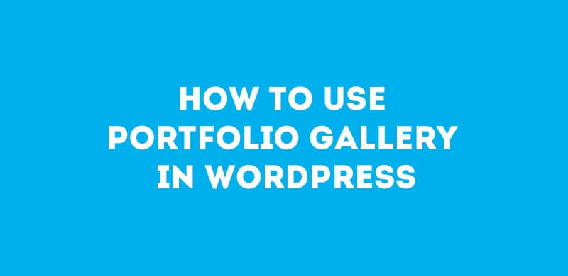 How To Use Portfolio Gallery In WordPress