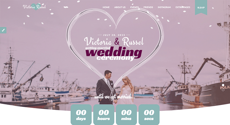 Beautifully enchanted WordPress Wedding theme