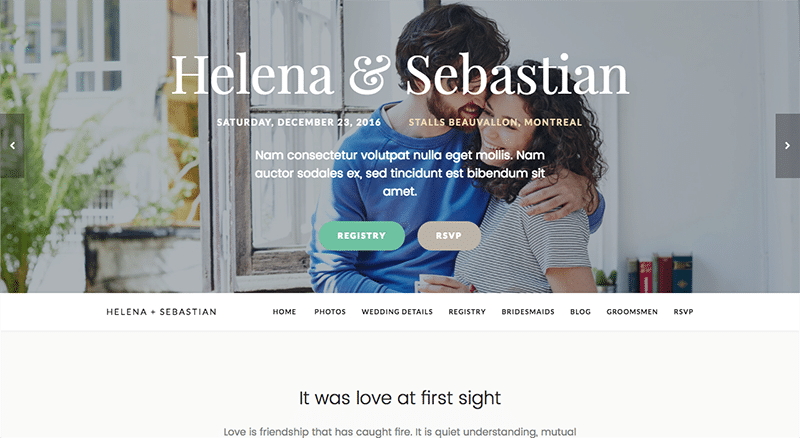 One-page WordPress Wedding theme