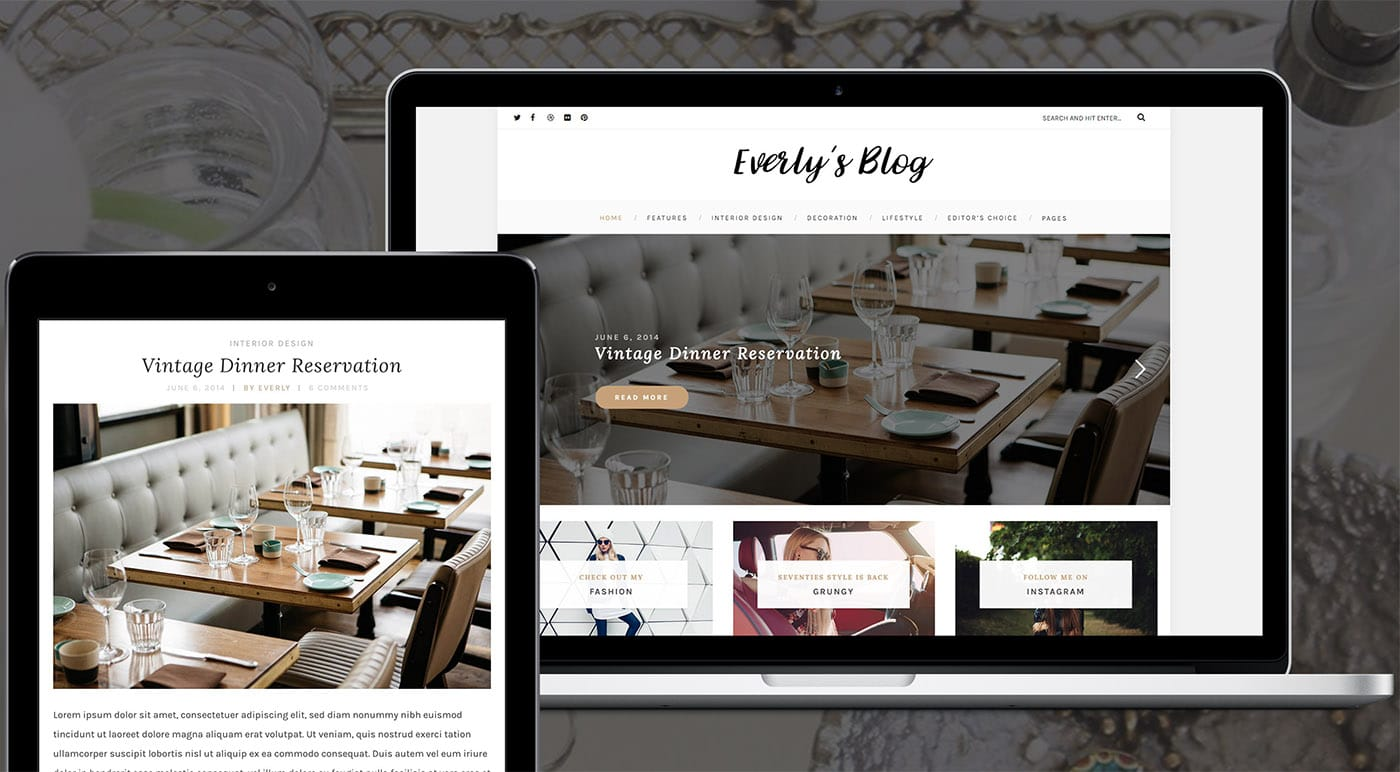 Responsive Design of Everly WordPress Blog Theme