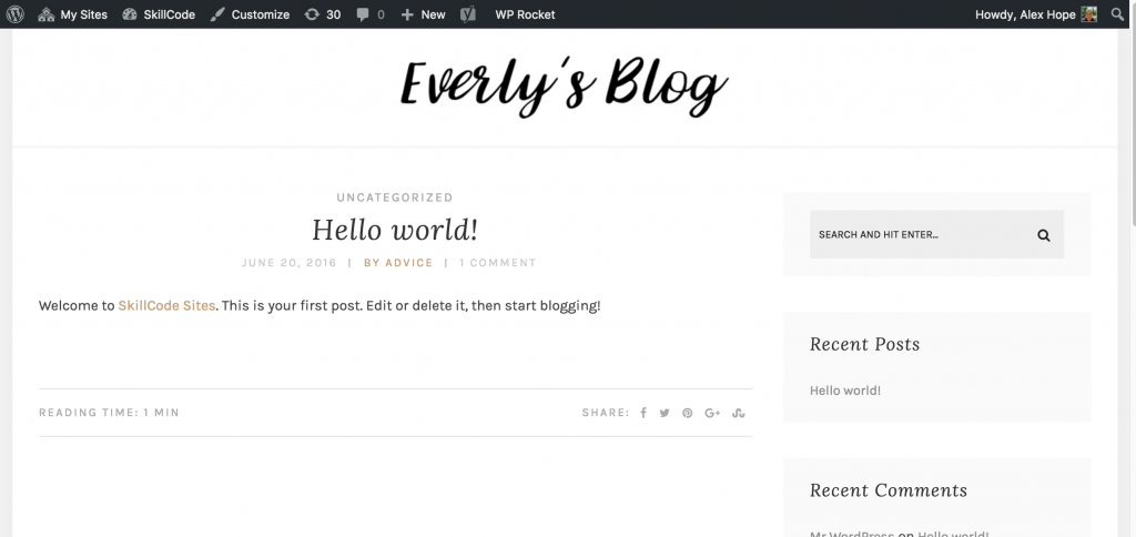 everly blog theme homepage