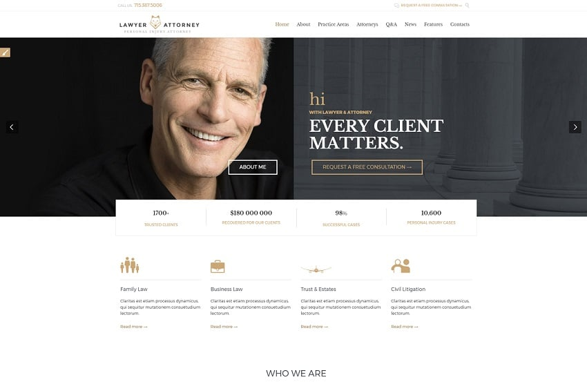 lawyer attorney wordpress theme