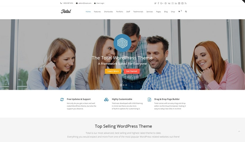total wordpress theme