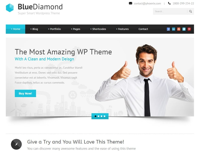 blue diamond wordpress business theme