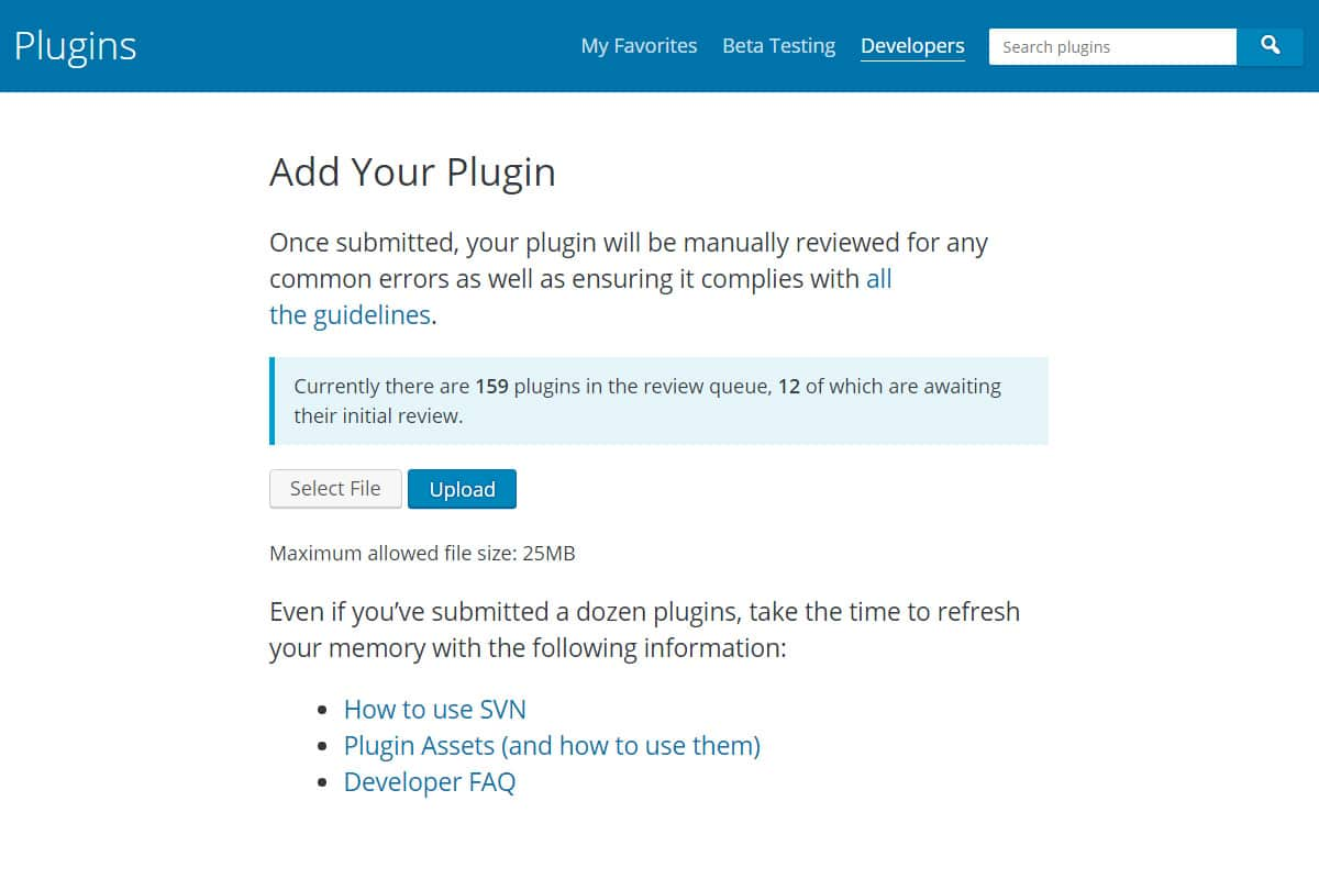Add your WordPress plugin