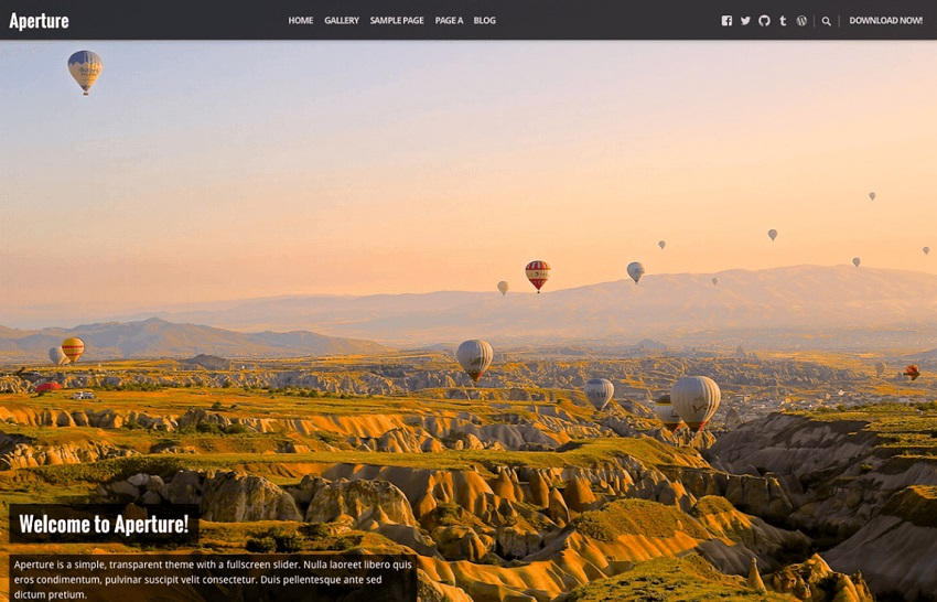 aperture free wordpress theme