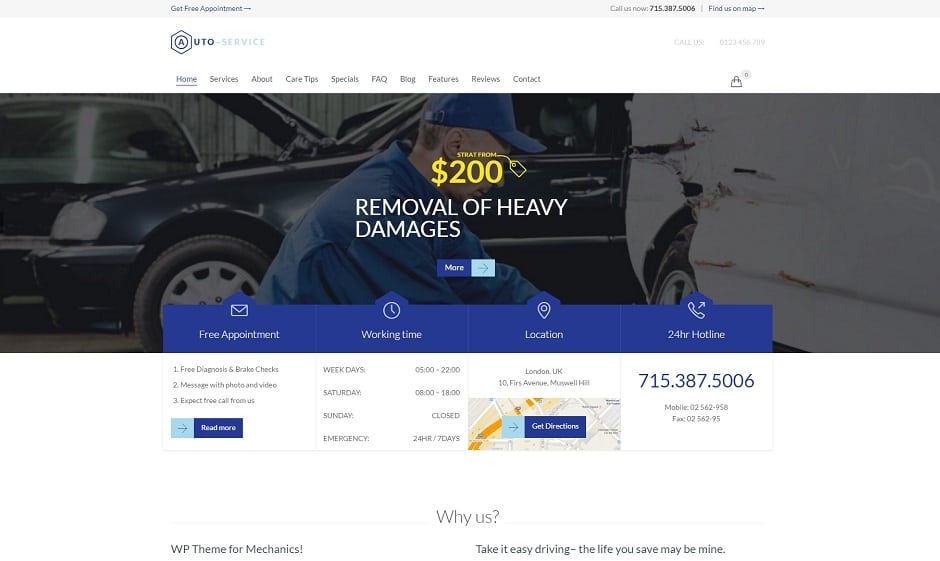 auto repair car mechanic wordpress theme