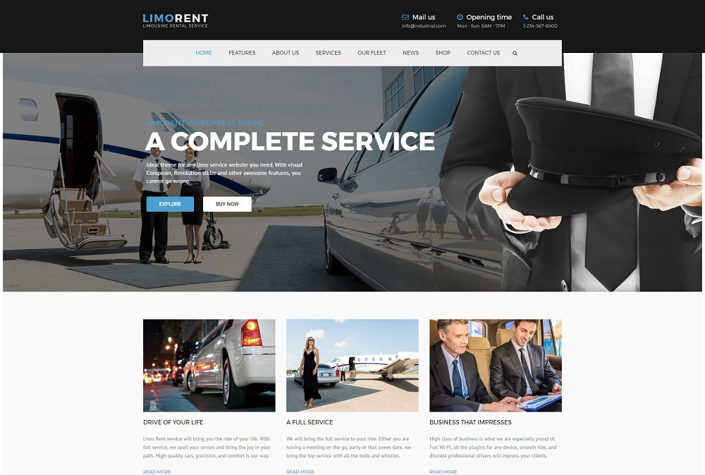 limo rent wordpress theme