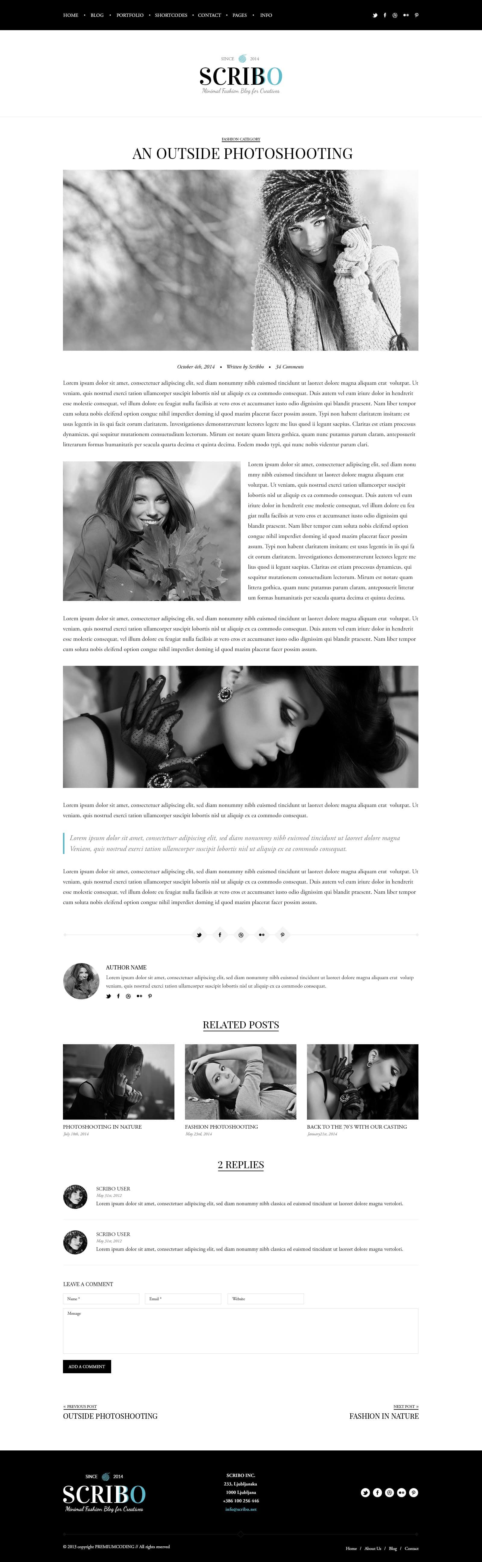 Free Fashion PSD Template Single Post