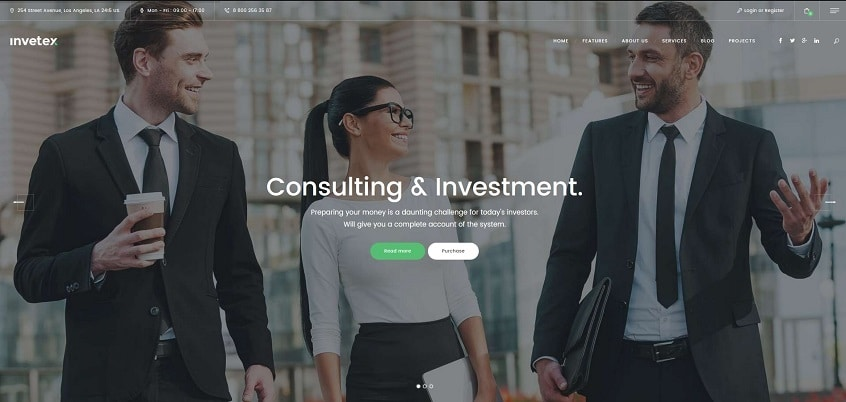 invetex multipurpose business consulting wordpress theme