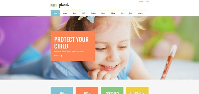 kids planet multipurpose children wordpress theme