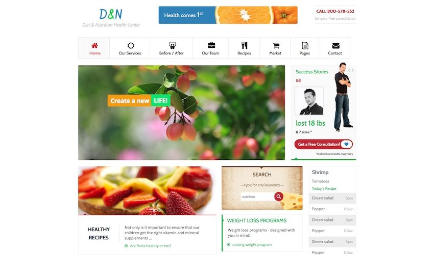 diet and nutrition health center wordpress theme