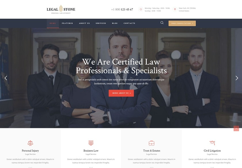 legal stone lawyer WordPress theme