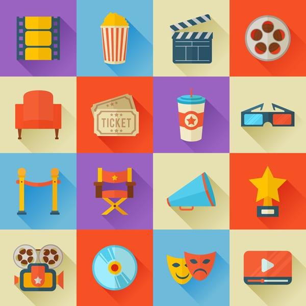 Movies and Cinema Flat Icons