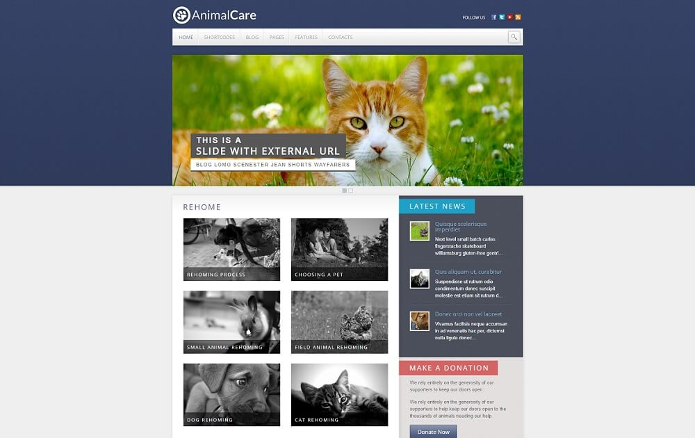 animal care wordpress theme