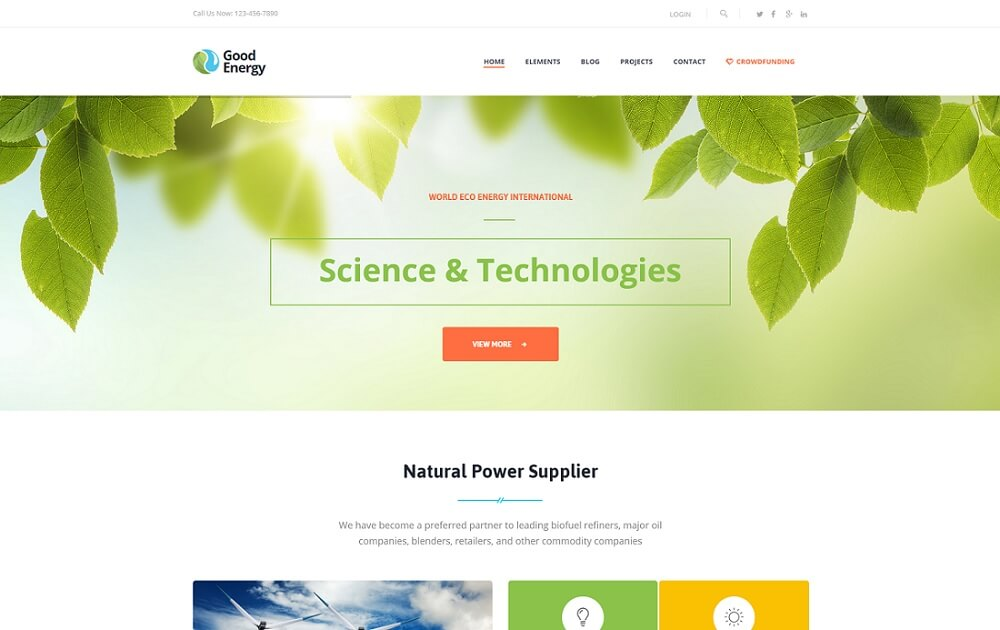 good energy natural and animal wordpress theme