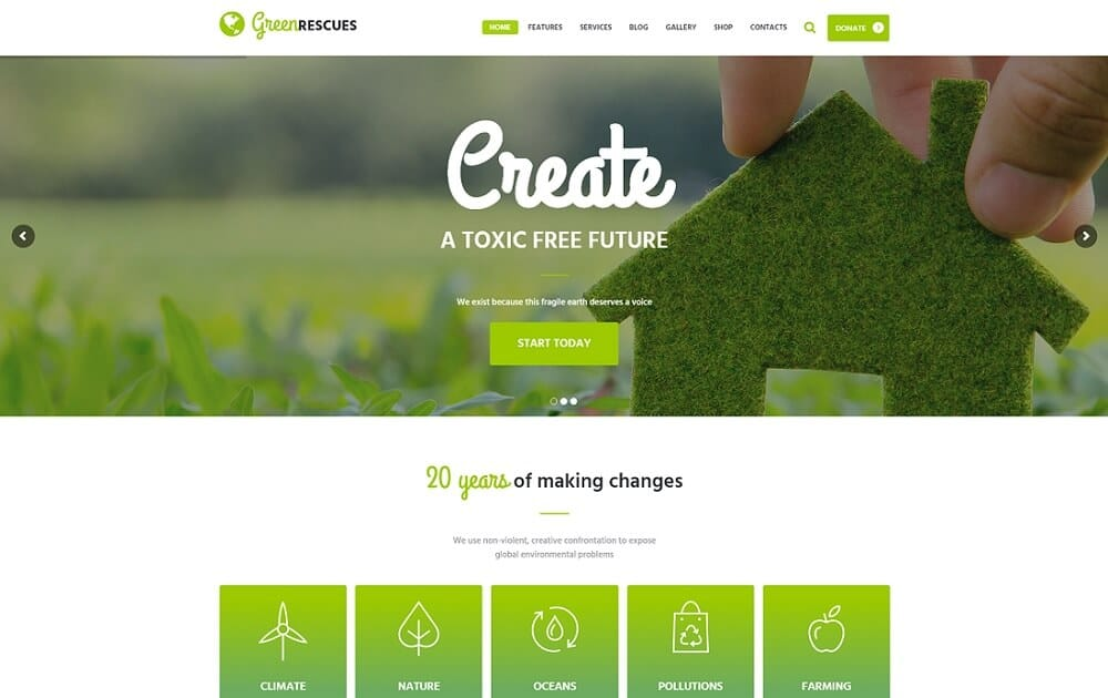 green rescues environment protection wordpress theme