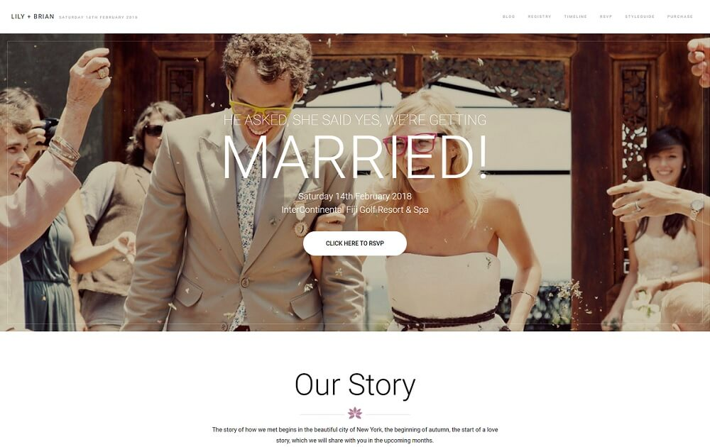 lily wordpress wedding theme