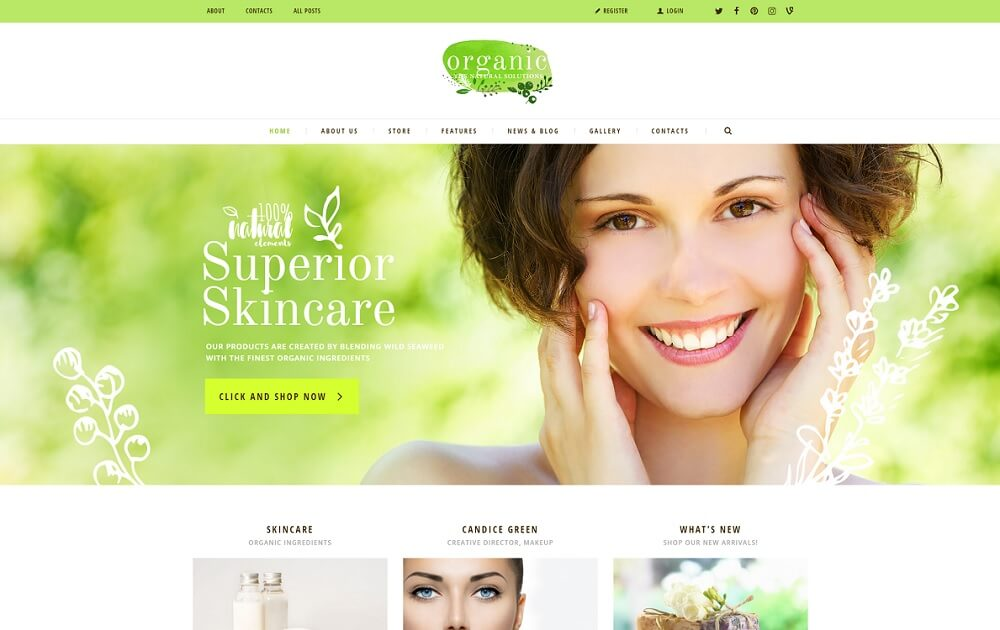 organic beauty store wordpress theme