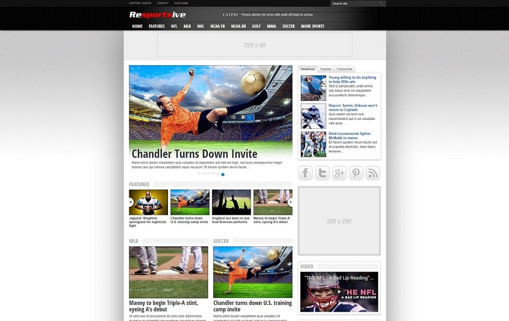 resportsive wordpress sports theme
