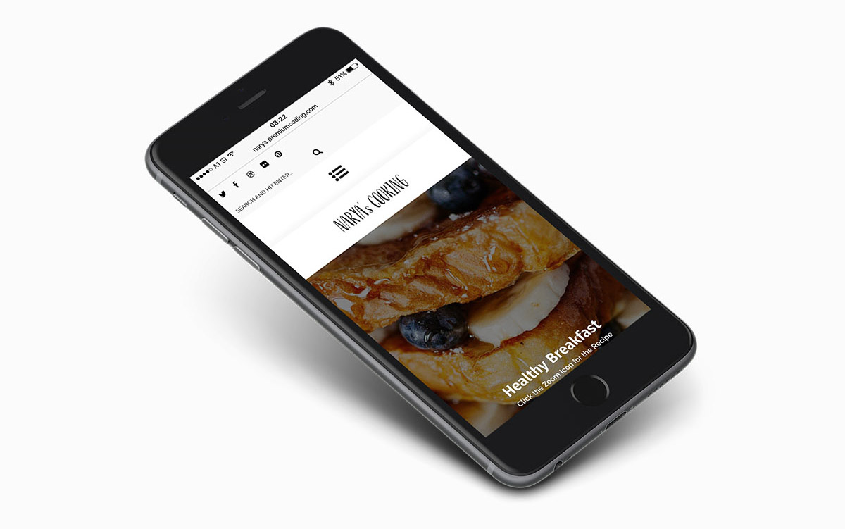 Mobile view of responsive WordPress food blog theme, Narya