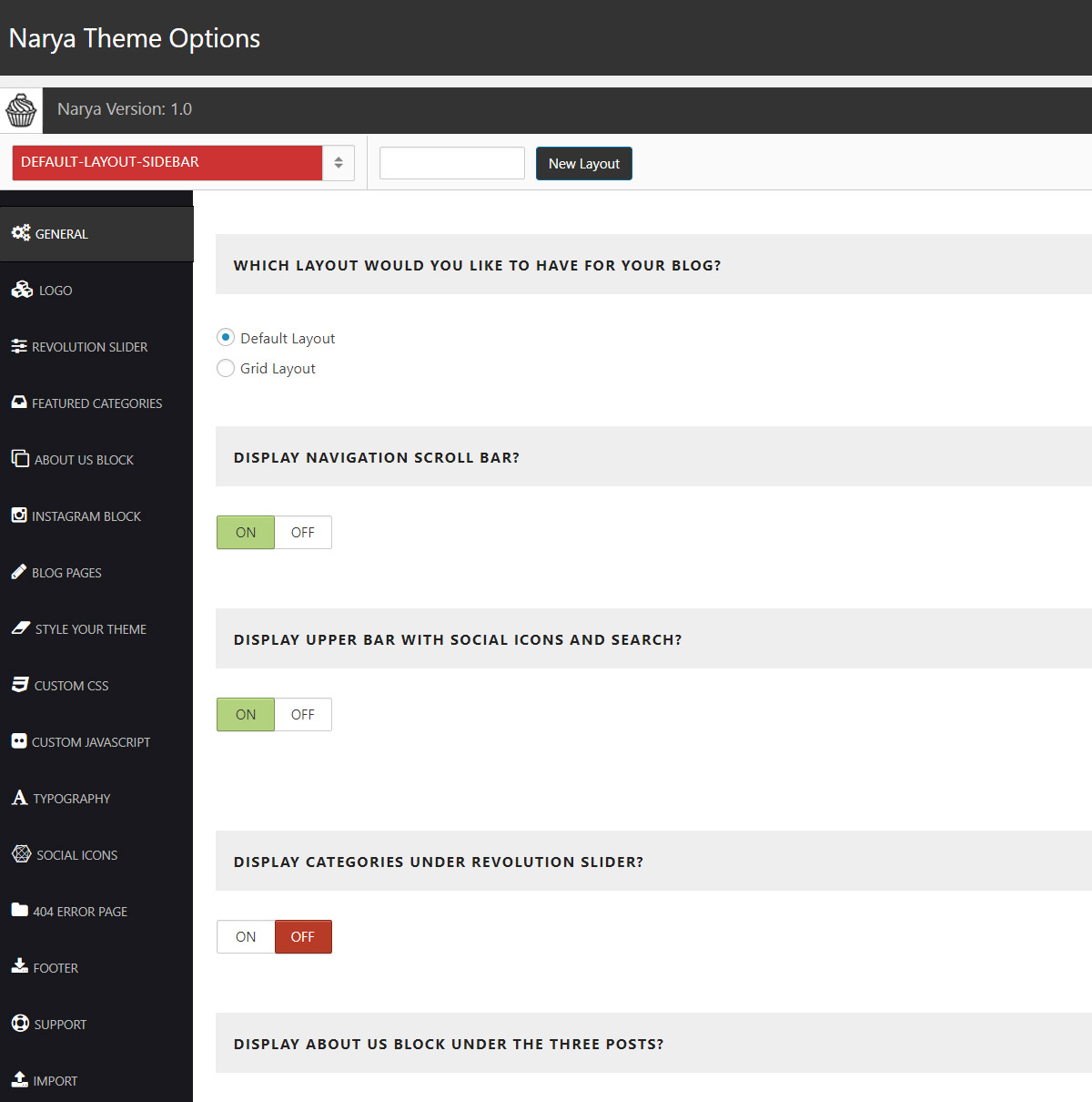 The amazing admin panel of the best WordPress food blog theme Narya