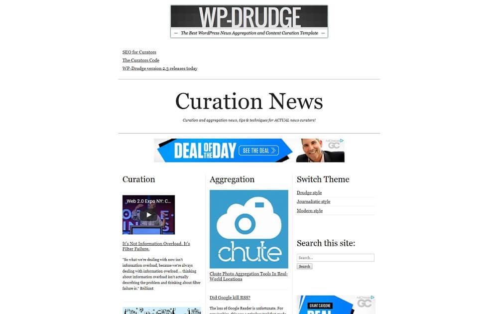 wp drudge content curation theme