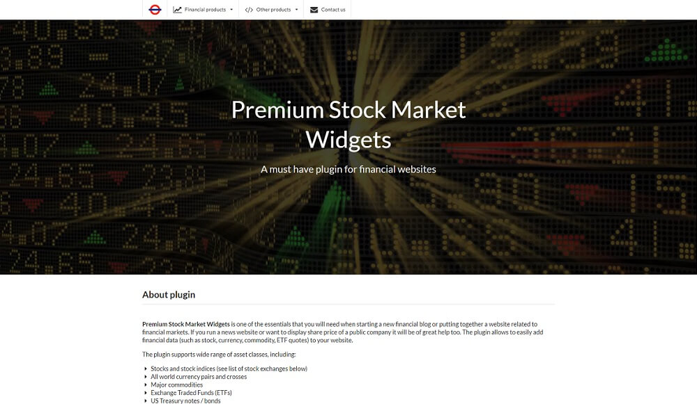premium stock market widgets wordpress