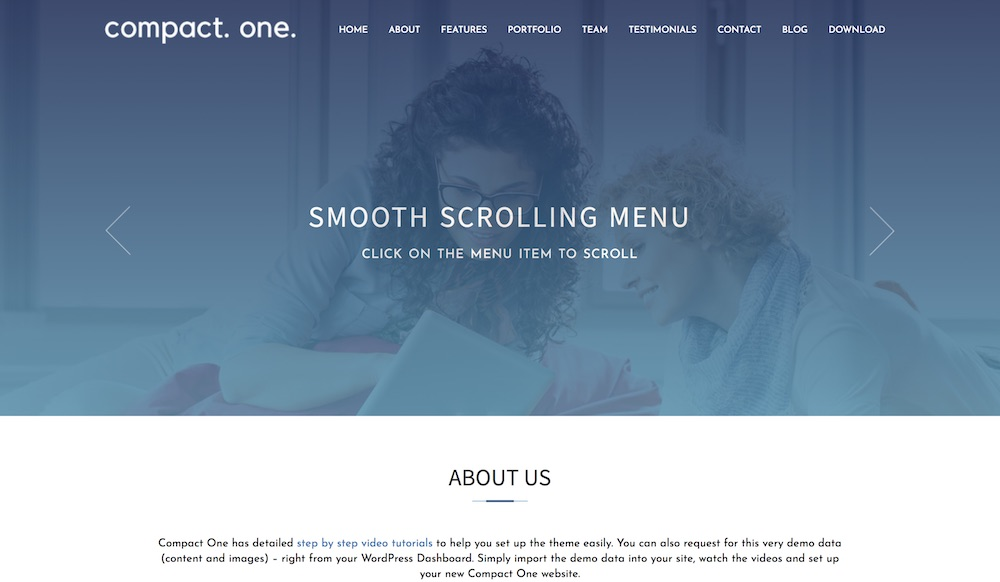 compact one page wordpress theme