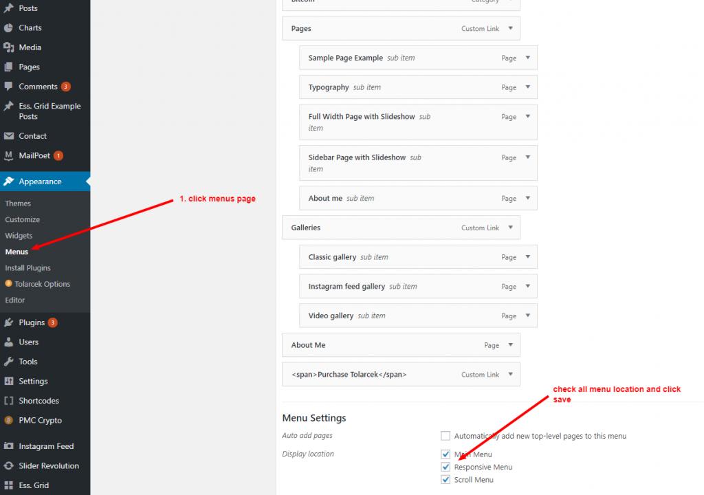 Set WordPress menu location