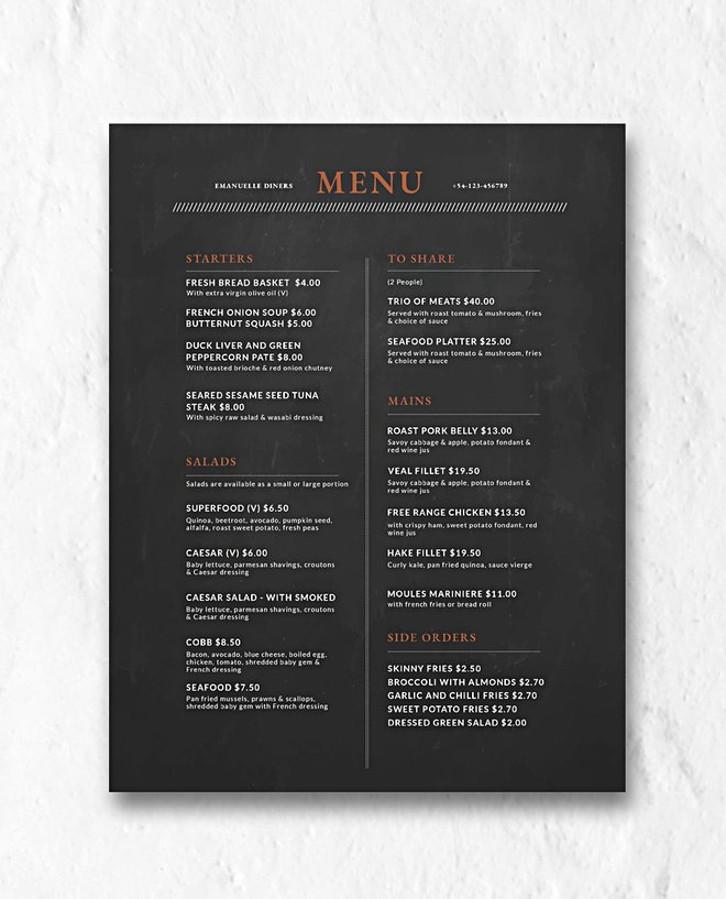 Services Menu Template from premiumcoding.com