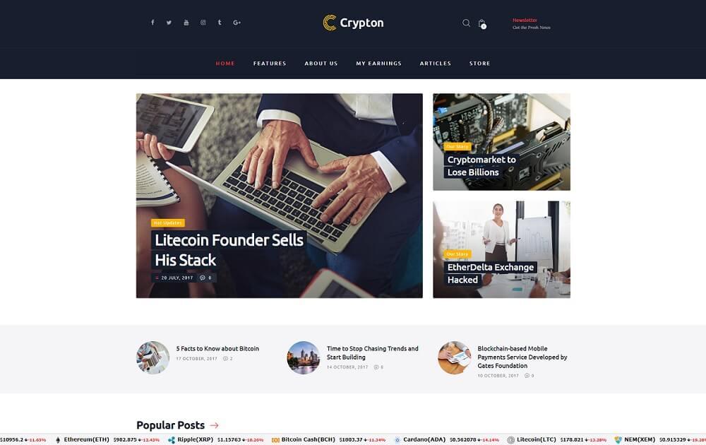 crypton bitcoin wordpress theme