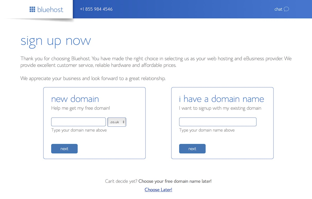 bluehost sign-up now domain pick