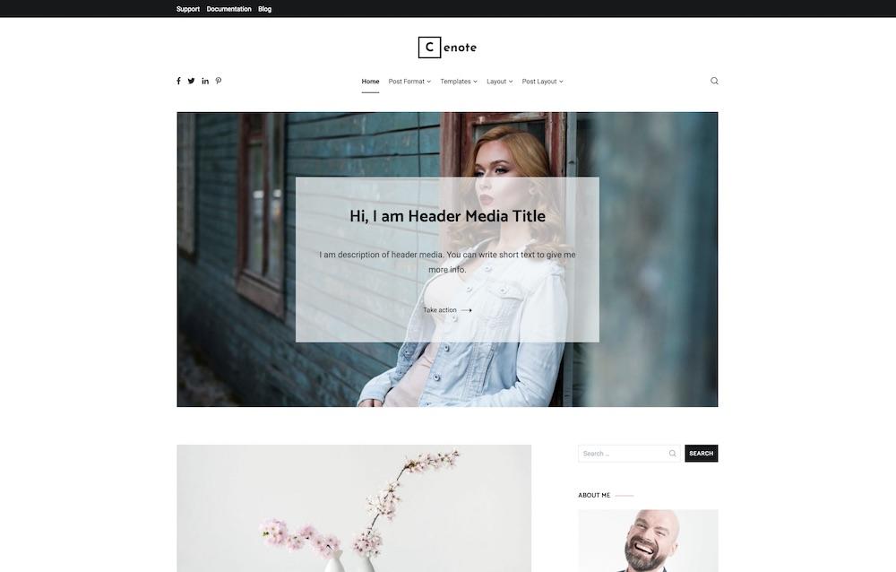 cenote free wordpress personal blog theme