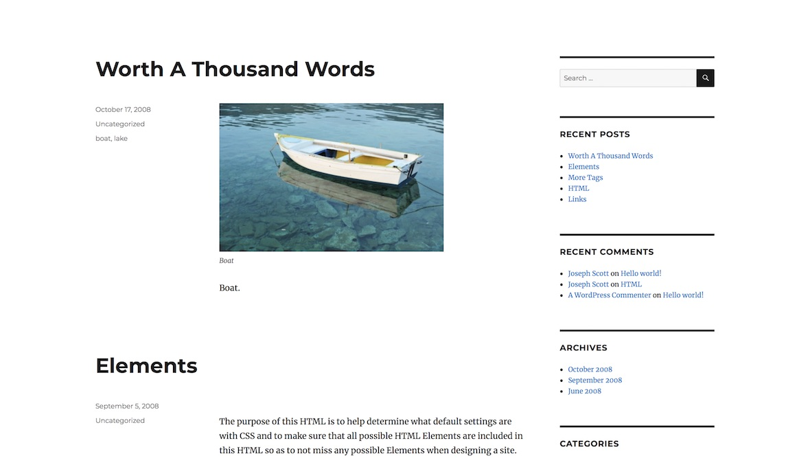 wordpress new blog default
