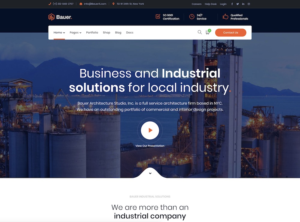 bauer construction wordpress theme