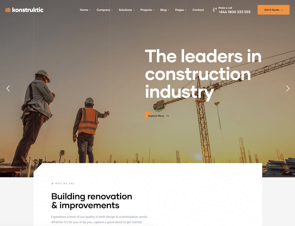 konstruktic construction wordpress theme
