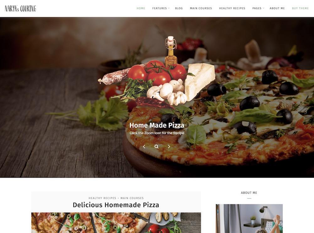 narya wordpress food recipe theme