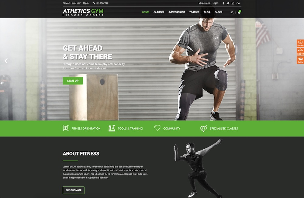 athetics wordpress theme for sports healthy lifestyle